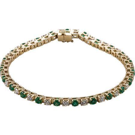 Emerald Bracelet in 14 Karat Yellow Gold Emerald & 2 0.33 Carat Diamond Bracelet