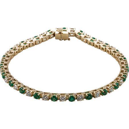 Emerald Bracelet in 14 Karat Yellow Gold Emerald & 20.33 Carat Diamond Bracelet
