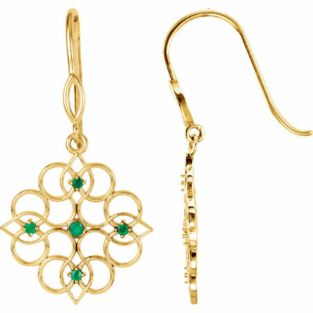 14 Karat Yellow Gold Emerald Earrings