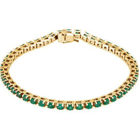 Buy 14 Karat Yellow Gold Emerald Line Bracelet