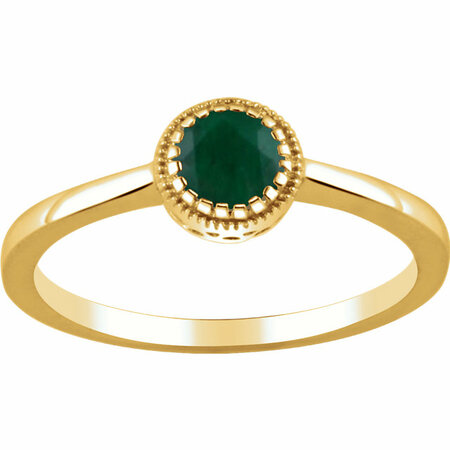 Genuine Emerald Ring in 14 Karat Yellow Gold Emerald