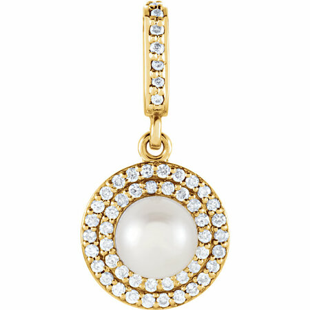Shop 14 Karat Yellow Gold Freshwater Pearl & 0.12 Carat Diamond Pendant