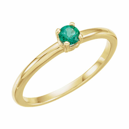 Genuine Emerald Ring in 14 Karat Yellow Gold Emerald