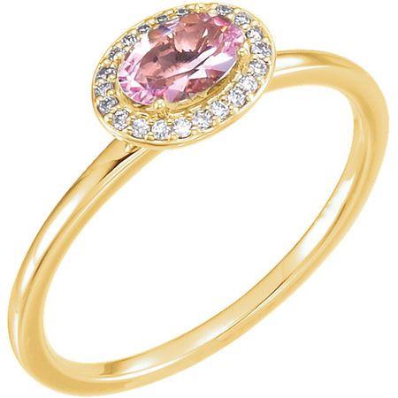 14 Karat Yellow Gold Morganite & .05 Carat Diamond Ring