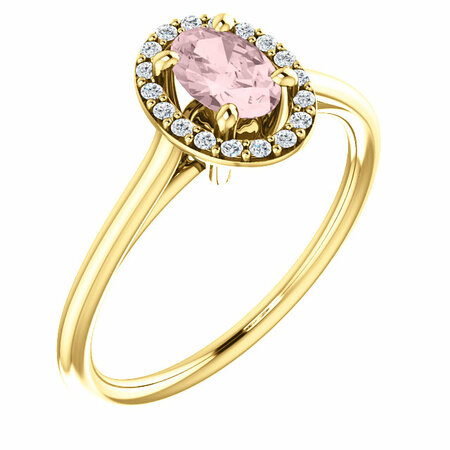 14 Karat Yellow Gold Morganite & 0.10 Carat Diamond Ring