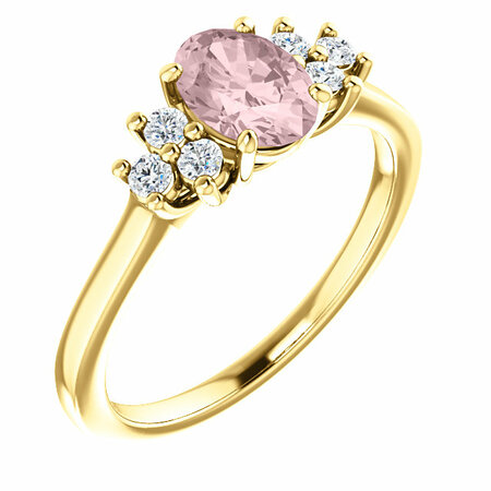 14 Karat Yellow Gold Morganite & 0.20 Carat Diamond Ring