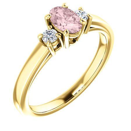14 Karat Yellow Gold Morganite & 0.12 Carat Diamond Ring