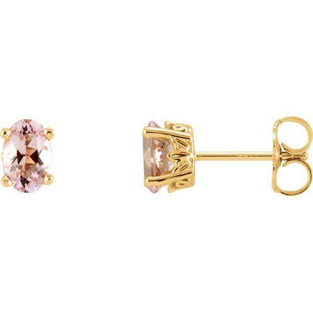 Pink Morganite Earrings in 14 Karat Yellow Gold Morganite Earrings