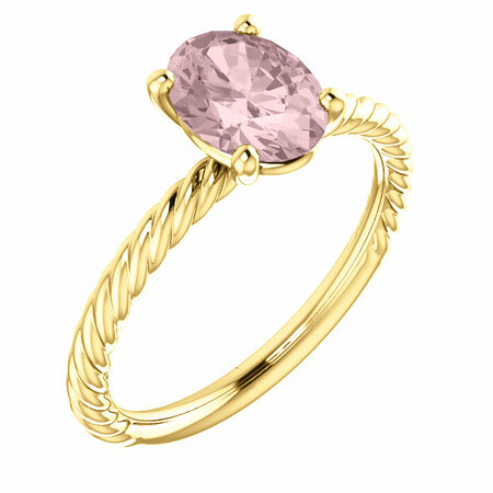 Pink Morganite Ring in 14 Karat Yellow Gold Morganite Ring