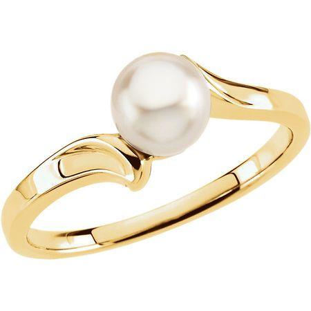 Cultured Akoya Pearl Ring in 14 Karat Yellow Gold Pearl Ring