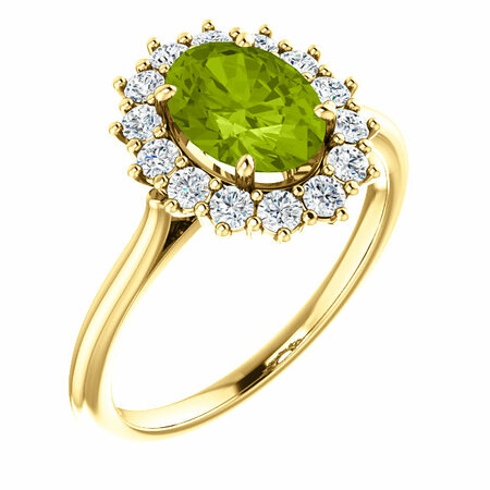 Buy 14 Karat Yellow Gold Peridot & 0.40 Carat Diamond Ring