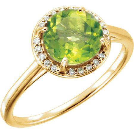 Shop 14 Karat Yellow Gold Peridot and .05Carat Diamond Ring