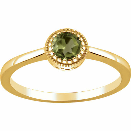 Genuine Peridot Ring in 14 Karat Yellow Gold Peridot