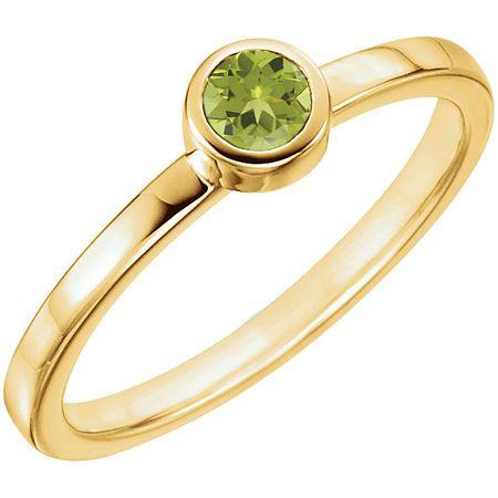 Genuine  14 Karat Yellow Gold Peridot Ring