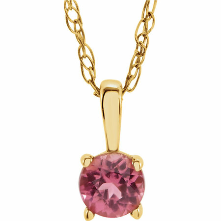 14 Karat Yellow Gold Pink Tourmaline 14