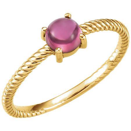 14 Karat Yellow Gold Pink Tourmaline Cabochon Ring