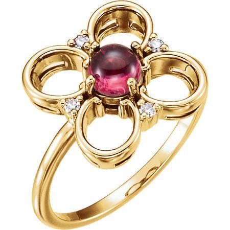 Buy 14 Karat Yellow Gold Pink Tourmaline & Diamond Clover Ring