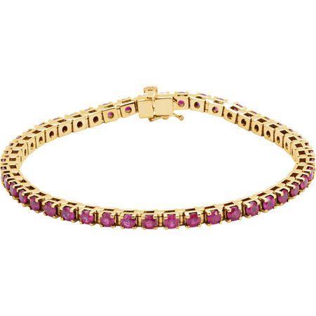 Red Ruby Bracelet in 14 Karat Yellow Gold Ruby Line Bracelet