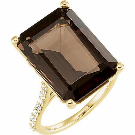 14 Karat Yellow Gold Smoky Quartz & 0.25 Carat Diamond Ring