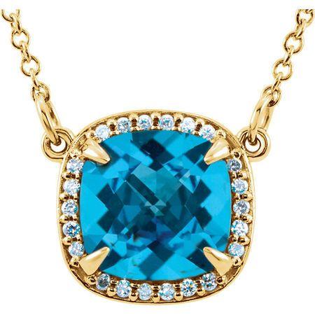 Shop 14 Karat Yellow Gold Swiss Blue Topaz & .06 Carat Diamond 16