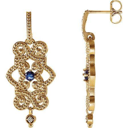 14 Karat Yellow Gold Tanzanite & .03 Carat Diamond Granulated Design Dangle Earrings