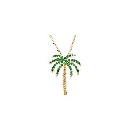 Buy 14 Karat Yellow Gold Tsavorite Garnet & Yellow Sapphire Palm Tree 16