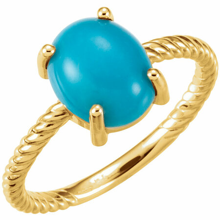 Genuine Turquoise Ring in 14 Karat Yellow Gold Turquoise Cabochon Ring