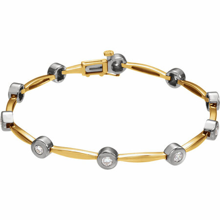 White Diamond Bracelet in 14 Karat Yellow Gold/White 1 Carat Diamond Line 7.5