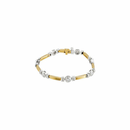 Genuine 14 Karat Yellow Gold & White 1 Carat Diamond Line Bracelet