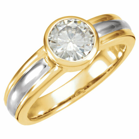 14 KT Yellow Gold & White 6.5mm Round Forever Classic Moissanite Solitaire Engagement Ring