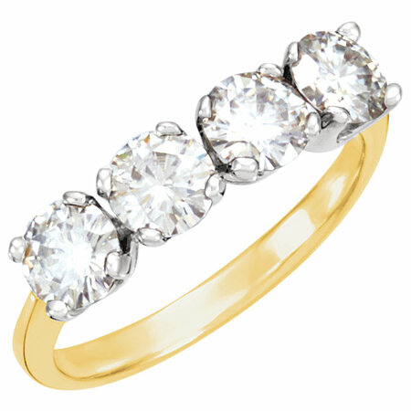 14 KT Yellow Gold & White Forever Classic Moissanite Anniversary Band