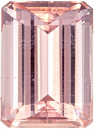 18 x 13.1 mm Morganite Genuine Gemstone in Emerald Cut, Rich Peach, 16.55 carats