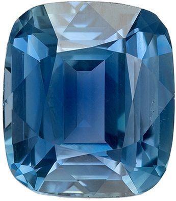 Super Genuine Loose Blue Green Sapphire Gemstone in Cushion Cut, 7.5 x 6.6 mm, Medium Open Teal Blue, 2.06 carats