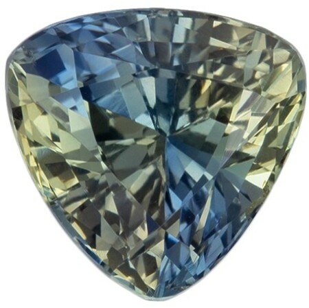 Great Deal on Bicolor Sapphire Loose Gem, 2.15 carats, Trillion Cut, 7.6 mm , Super Low Price