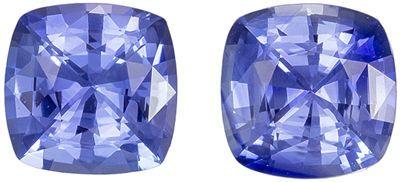 Super Sapphire Matched Pair, 2.18 carats, Sky Cornflower Blue, Cushion Cut, 6 mm