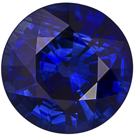 2.3 carats Blue Sapphire Loose Gemstone in Round Cut, Vivid Rich Blue, 7.9 mm
