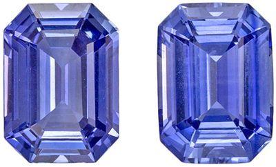 Highly Desirable Sapphire Gem Pair, 6.9 x 5mm, Medium Cornflower Blue, Emerald Cut, 2.36 carats