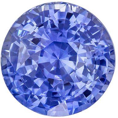 Excellent Sapphire Genuine Gem, 2.7 carats, Vivid Cornflower Blue, Round Cut, 7.7 mm