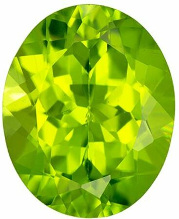 Super Peridot Genuine Loose Gemstone in Oval Cut, 2.7 carats, Medium Lime Green, 10 x 8 mm