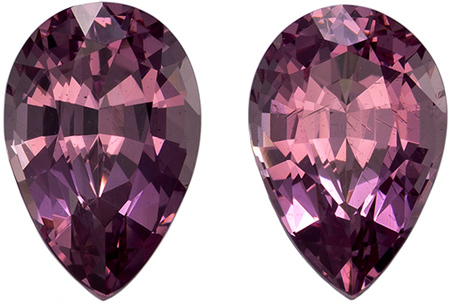 3.17 carats Rose Garnet Well Matched Gem Pair in Pear Cut, Berry Purple, 8.5 x 5.6 mm