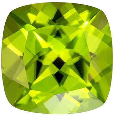 Must See 3.24 carat Green Peridot Gemstone in Cushion Cut 9.1 mm