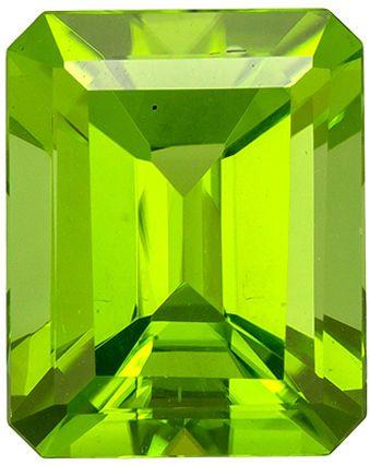 3.47 carats Peridot Loose Gemstone in Emerald Cut, Vivid Lime Green, 9.9 x 7.9 mm