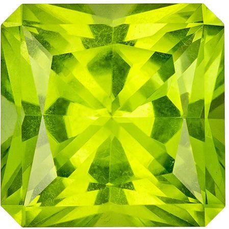 Quality Gem in 3.64 carat Green Peridot Gemstone in Radiant Cut 8.8 mm