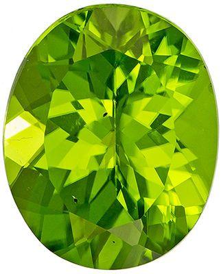 Beautiful 3.66 carats Green Peridot Oval Genuine Gemstone, 11 x 9 mm