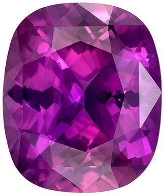 Wonderful Purple Sapphire Genuine Loose Gemstone in Cushion Cut, 3.67 carats, Rich Magenta Purple, 10.2 x 8.6 mm