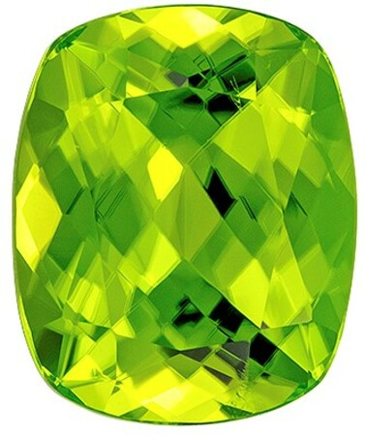 Loose Natural Green Peridot Gemstone, 4.48 carats, Cushion Cut, 11 x 9  mm , Great Low Price