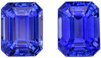 Super Sapphire Matched Pair, 4.86 carats, Vivid Rich Blue, Emerald Cut, 8 x 6mm