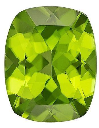 Faceted Peridot Gemstone 4 carats, Cushion Cut, 11 x 9  mm