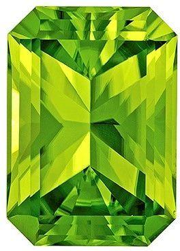 Terrific Buy on Green Peridot Loose Gemstone, 5.37 carats, Radiant Cut, 12.4 x 8.8  mm , Wonderful Gem - Great Deal