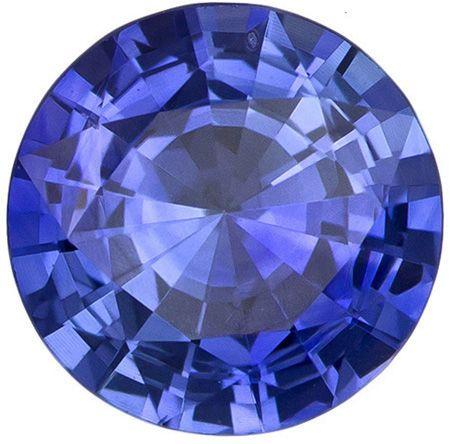 6.5 mm Blue Sapphire Genuine Gemstone in Round Cut, Intense Blue, 1.06 carats